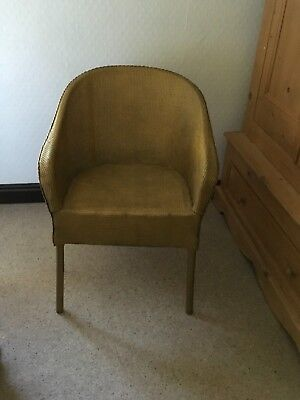 Retro Vintage 1950s gold Lloyd Loom Bedroom Conservatory Chair Upcycle Project