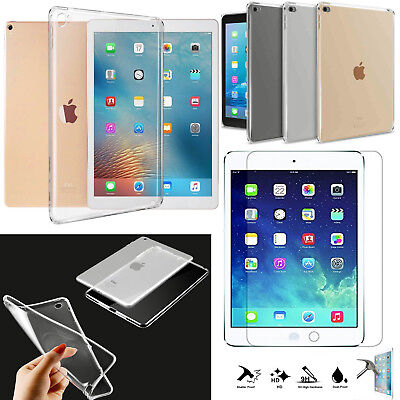 New Smart Clear Gel Case Cover + Tempered for iPad 2 3 4 Air Mini Pro 9.7 2018