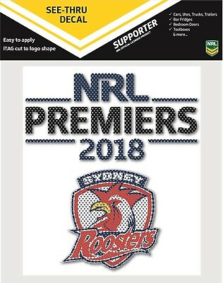 Sydney Roosters NRL 2018 Premiers Premiership See-Thru Car Window Decal Stickers