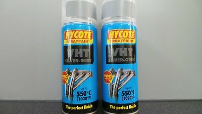 2X Hycote Vht Silver-Grey Spray Paint Uk1009 Very High Temperature 550°C/1020°F