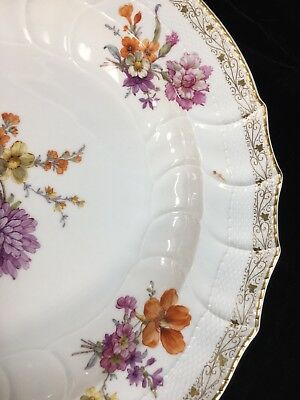 "KPM Royal Porcelain Factory 13.75"" Floral CHOP PLATE with Scepter ORB mark"