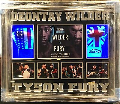 Exclusive Framed Tyson Fury and Deontay Wilder Signed Boxing Gloves AFTAL COA