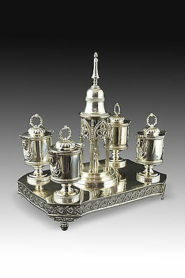 Solid silver writing materials set. Juan Sellán, Madrid, Spain, 1845.
