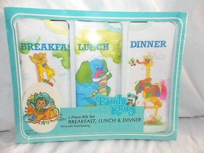 Vintage Baby Bibs Terry Vinyl Back 3 Pack Breakfast Lunch Dinner NOS Animals