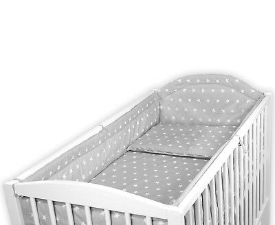 LUXURY BABY BEDDING SET BUMPER QUILT PILLOW SMALL WHITE STARS TO FIT COT 120x60