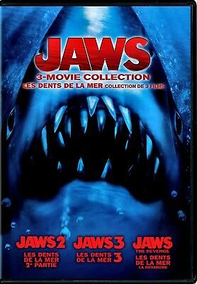 NEW DVD - JAWS 3MOVIE COLLECTION - JAWS 2 + JAWS 3 + JAWS the REVENGE -