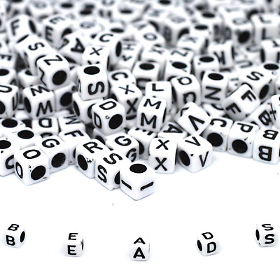 500 Alphabet Letter Beads White, Black Hole Mixed Cube Dummy Clip Letters 6mm
