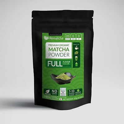Rematcha Premium Japanese Matcha Powder 100 gm - Vegan 100% Natural Sugar Free