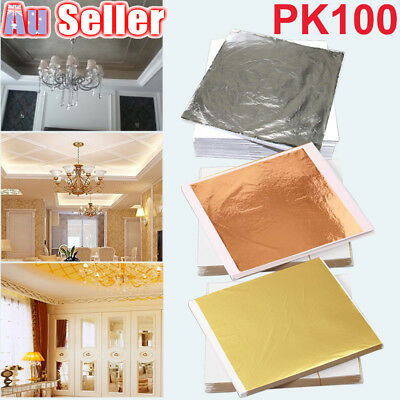 100 Sheets Gilding Art Craft Gold Silver Copper 14x14cm Leaf Foil Paper