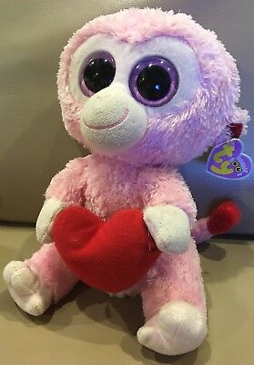 "6c29d093c97 Ty Beanie Boos Julep the Pink Monkey 9"" Holding heart MINT 2011"