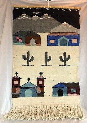 Vtg Wool Wall Hanging Tapestry Rug Native Spanish Mission Double Sided