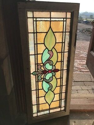 SG 2536 antique Stainglass transom window red jewel 17 x 40
