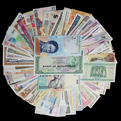 101 PCS lot World Currency banknotes from 50 countries in the world/unc