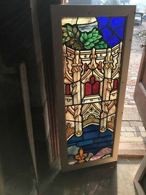 SG 2539 antique painted and fired architecture and foliage Stainglass window 21…