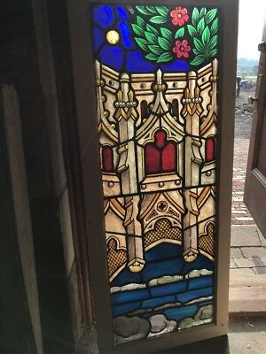 SG 2540 antique painted and fired Stainglass window Gothic architecture foliage…