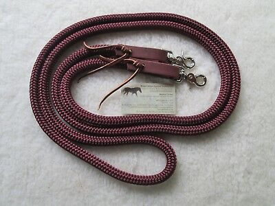 "MAROON Burgundy 10' x 9/16"" Yacht Rope Loop Reins Trail Training Leathers Snaps"