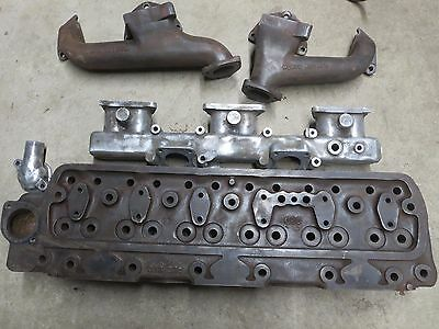 Austin Healy 6 Cylinder Head with Intake & Exhaust Manifolds & Misc Hardware