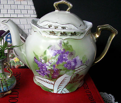 Three Crown China Teapot Hand Painted Violets Tea Pot c.1909 Made in Germany