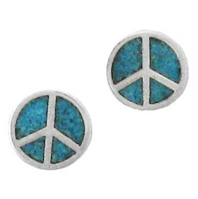 Sterling Silver Peace Symbol Turquoise Inlay Earrings Charm Gem Semi Precious