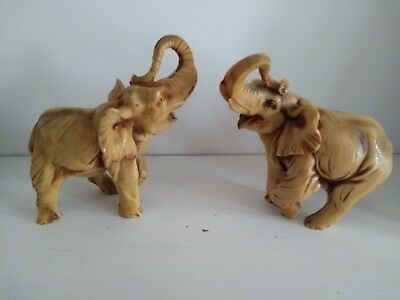 Vintage Pair of Faux Ivory Resin Heavy Elephants