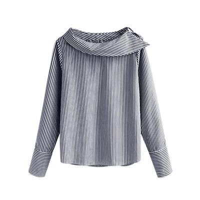 Womens Long Sleeve Chiffon Shirt Blouse Striped Jumper Tops Pullover Plus Size