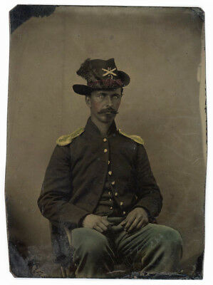 CIVIL WAR SOLDIER HAT FEATHERS RED CORD 14th REG CO C or G GOLD EPAULETS TINTYPE