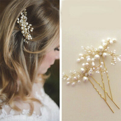 Wedding Bridal Hair Comb Clip Crystal Rhinestone Flower Faux Pearl Hairpin  s/