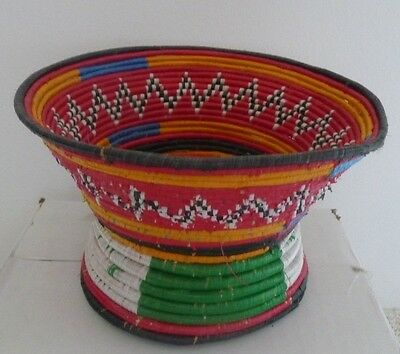 """African Multi-Colored Chalice Shaped Basket (4.25"""" tall; top diameter 7"""")"""