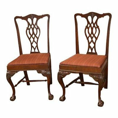 Pair of Vintage Carved Mahogany Chippendale Style Side Chairs