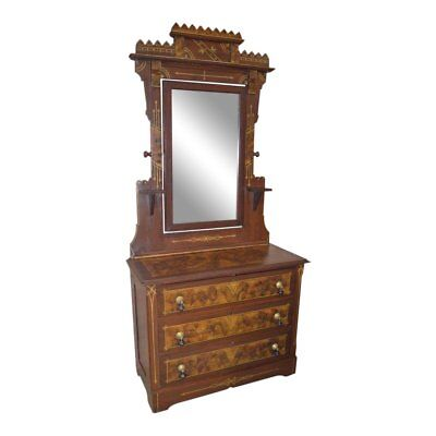 Antique Eastlake Cottage Style Hand Painted Dresser w/Mirror
