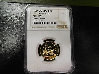1980 China 1 Yuan Archery Brass Moscow Olympics Ngc Proof Pf69 Cameo