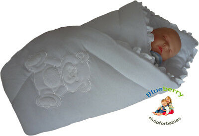BlueberryShop Embroidered jersey Swaddle Wrap Blanket Sleeping Bag for Newborn