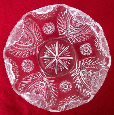 "Vintage Clear Pressed Glass Bowl 8-1/2"" Starburst Scalloped Edge Pattern Glass"