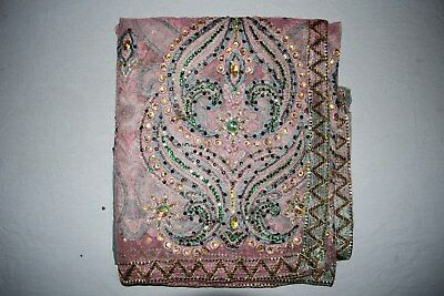 """Exotic Floral Indian Wedding Dupatta Scarf Sequins Embroidery Net Fabric Veil L"""""""