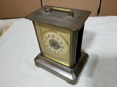 JUNGHANS Carriage Brass Antique Alarm Clock Made in Germany with Musical Alarm