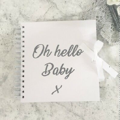 Oh hello baby book,new baby keepsake book, baby first year scrapbook,record book