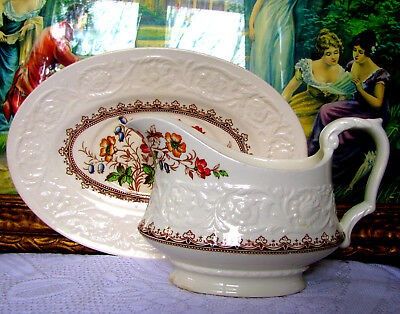 Booths Wild Rose Gravy Boat and Tray, Booths Corinthian Sauce Jug & Tray