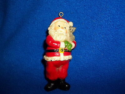 1975 HALLMARK Santa with Cat Vintage Christmas Keepsake Ornament