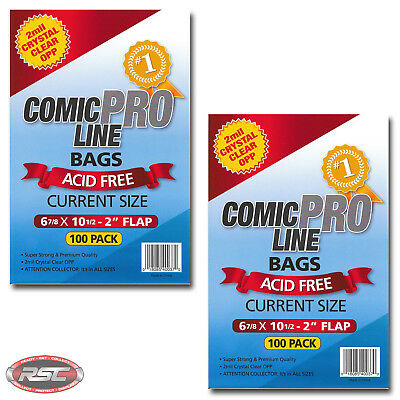 "200 - Comic Pro Line CURRENT 2-Mil Clear OPP Bags - 6-7/8"" x 10-1/2"" + 2"" Flap!"