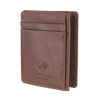 Travelon Leather Hack-Proof RFID Blocking Cash Card Sleeve and Wallet Brown 7248