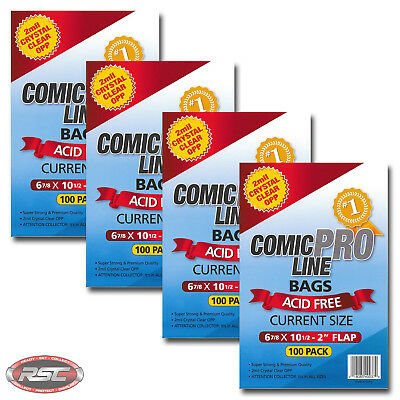 """400 - Comic Pro Line CURRENT 2-Mil Clear OPP Bags - 6-7/8"""" x 10-1/2"""" + 2"""" Flap!"""