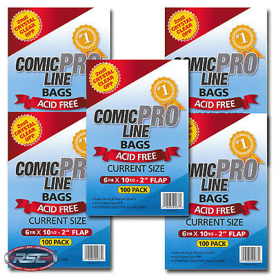 """500 - Comic Pro Line CURRENT 2-Mil Clear OPP Bags - 6-7/8"""" x 10-1/2"""" + 2"""" Flap!"""