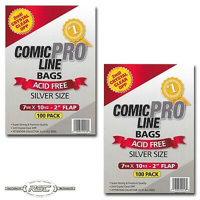 "200 - Comic Pro Line SILVER 2-Mil Clear OPP Bags - 7-1/4"" x 10-1/2"" + 2"" Flap!"