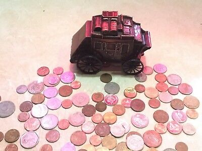 Vintage Stagecoach Copper metal Bank Equibank N.A 1/2 Pound  COIN  japan LOT