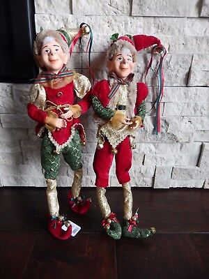 "RAZ (2) Elves 20"" Trimmed with Tradition Red & Green - Set of 2 (FREE SHIPPING)"