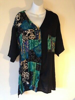 Vintage 1980/90s Split Black And Patterned Collarless Retro Patch Shirt Size 16