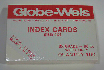 """Globe-Weiss 4"""" x 6"""" White, Blank, Index Note Cards, Pack of 100 Cards"""