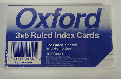 """Oxford 3"""" x 5"""" White, Ruled, Index Note Cards, Pack of 100 Cards"""