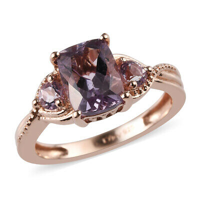 Women's 925 Sterling Silver 14K Rose Gold Plated Pink Amethyst Solitaire Ring