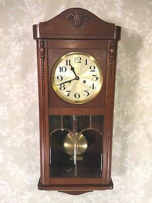 Vtg German Wall Clock (Hamburg American Clock Co) w/ Bim Bam Strike Leaded Glass